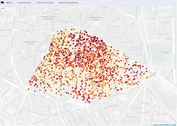 Cada bola señala un piso Airbnb. El color de cada pelota indica cuantos anúncios tiene el anfitrión. Cuánto más oscuro, más anúncios tiene el anfitrión (Mapa: DataHippo/CC)