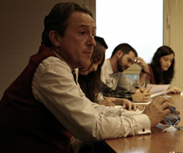 Hermann Terstch, con los alumnos del máster ABC-UCM. Foto: L.A.