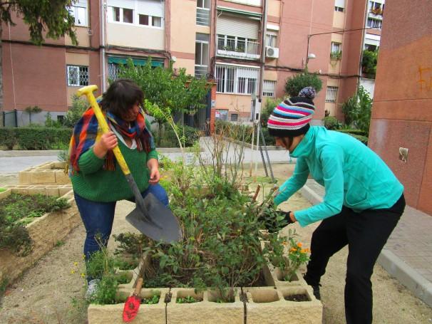 Educadoras medioambientales realizan labores de mantenimiento
