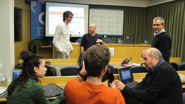 Pablo Barrio Aller (izquierda), se es el director de la editorial digital Ganso y Pulpo  Por Congreso Huesca
