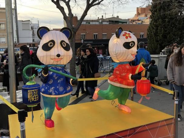 Los pandas, animales típicos chinos, también estuvieron muy presentes en la celebración