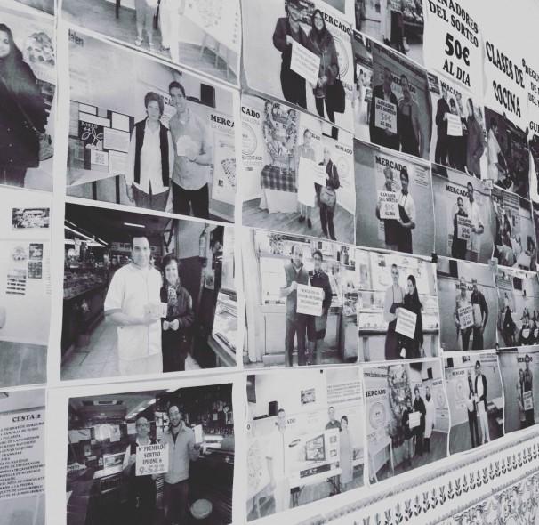 Mural de fotos con ganadores de premios en el mercado La Guindalera Foto: Jutzenny García Milano