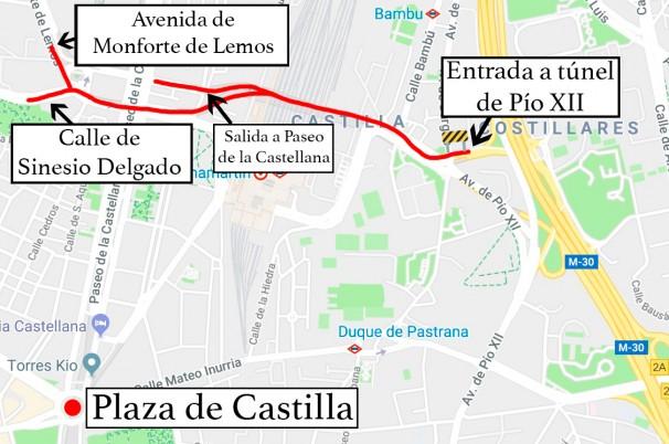 Recorrido del túnel de Pío XII. Foto: Google Maps