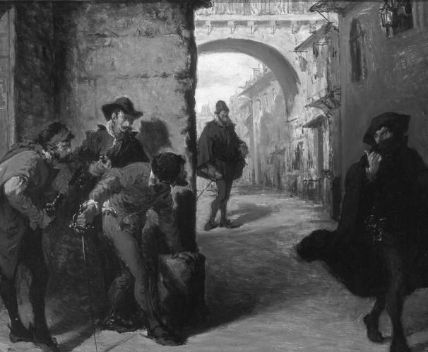 Óleo de Lorenzo Vallés recrea la emboscada que los sicarios de Antonio Pérez tendieron a Juan de Escobedo en 1578. Siglo XIX. Museo Municipal, Málaga