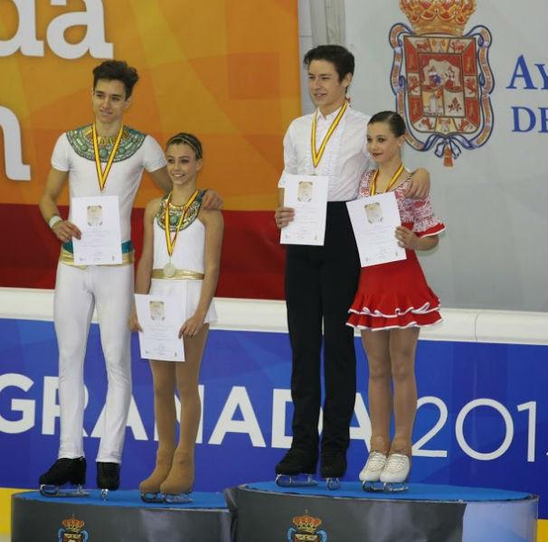 Las parejas en el podio de Granada/Foto: Daniel Taranco