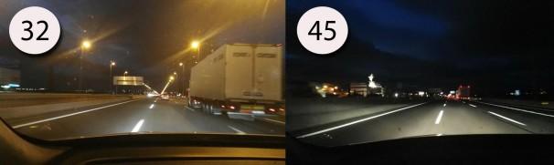 Diferencia de iluminación entre el kilómetro 32 (Izquierda) y el kilómetro 45 (Derecha)