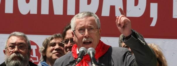 El líder de Comisiones Obreras Ignacio Fernández Toxo arenga a sus adeptos
