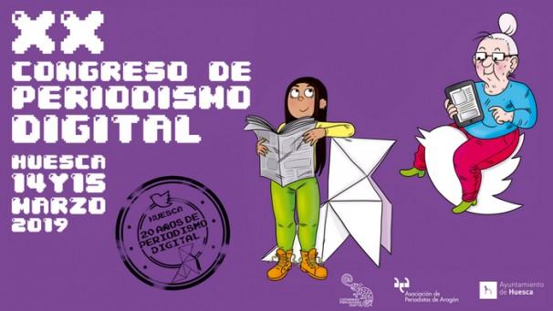El cartel del XX Congreso de Periodismo Digital ha sido diseñado por la artista aragonesa Mamen Moreu