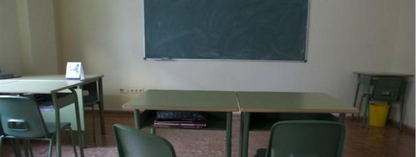 La clase vacía de un colegio de Madrid. Foto: Isabel Permuy
