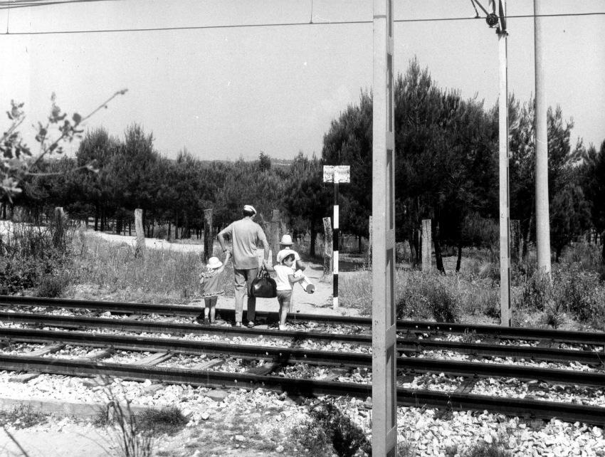 Una familia accede a la Casa de Campo por las vías del metro en 1977. Foto: Luís Ramírez/ABC