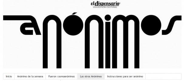 Cabecera de la página web «Anónimos»