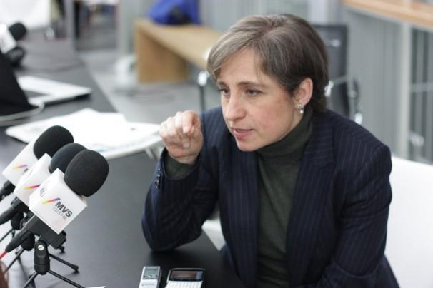 La periodista mexicana Carmen Aristegui, en un momento de la entrevista. Foto: J. S. C.
