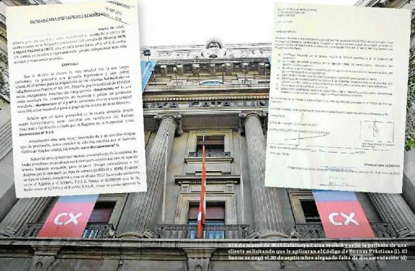 El 6 de marzo de 2013 Catalunya Caixa recibió y selló la petición de una cliente solicitando que le aplicaran el Código de Buenas Prácticas (i). El banco se negó el 20 de septiembre alegando falta de documentación (d). Foto: Albert Gea
