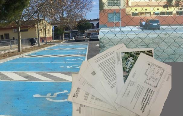 Las plazas de minusvalorados actuales, a la izquierda; un hombre en silla de ruedas aparca frente al polideportivo, arriba; y el informe NUBER