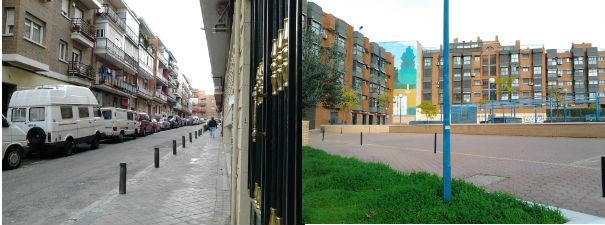 A la izquierda, la zona más antigua del barrio. A la derecha, la zona más renovada de Ventas y más cercana a la calle de Alcalá.