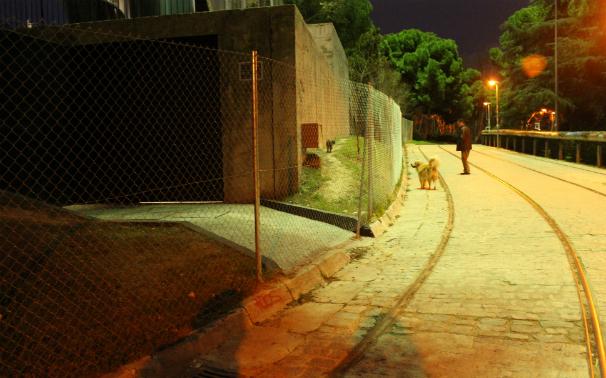 Un hombre se detiene junto a la verja que custodia el faro, en Ciudad Universitaria. Foto: N.M