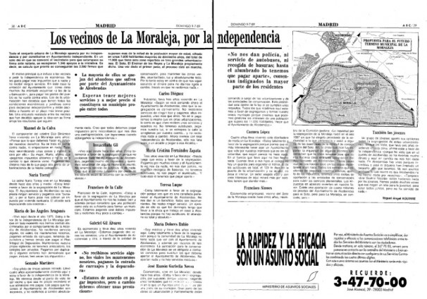 Doble página de la edición de ABC del 9/7/89, con testimonios de vecinos de La Moraleja a favor de la segregación