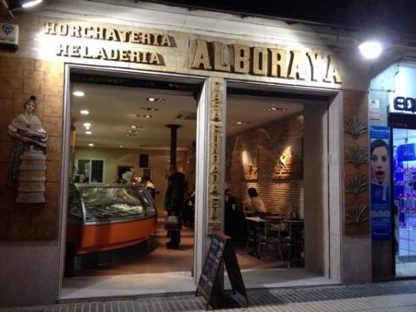 Fachada de la Horchatería Alboraya situada en el 125 de la calle Alcalá. Foto: J.M.