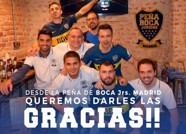 Fundadores de la Peña Boca JUNiors Madrid. Foto: gentileza Leonardo Ponzella