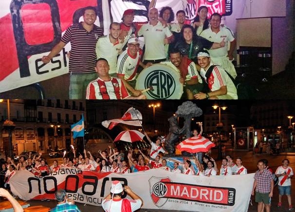 Hinchas de River en Madrid. Foto: gentile Filiar River Plate Madrid