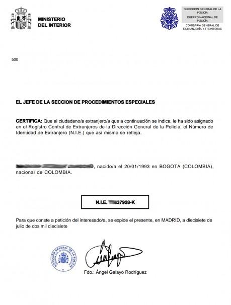 Documento oficial con el Número de Identificación de Extranjero
