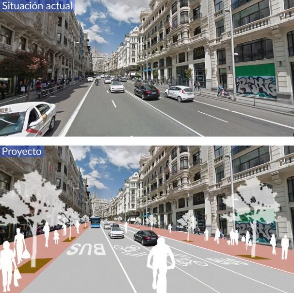 El antes y el después de la reforma de la Gran Vía. Foto: Quay