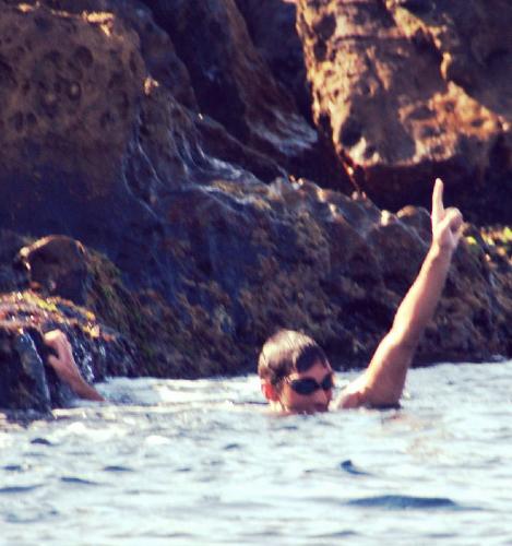 El nadador pinteño, a su llegada a África