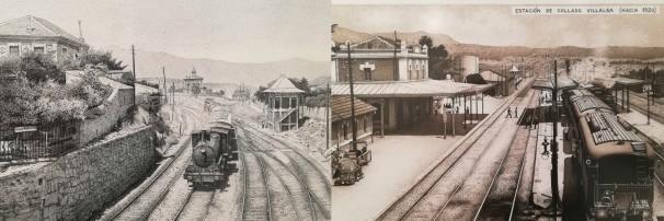 Dibujo sobre fotografía realizada en la década de 1920 / Estación de Collado Villalba (hacia 1920). Foto: J.Redondo