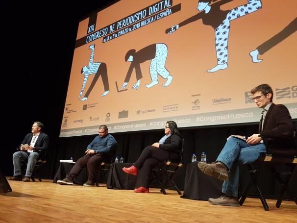 Ponentes en el foro sobre migración. Foto: Congreso Periodismo Huesca