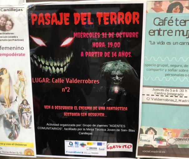 Cartel del Pasaje de Terror organizado por la Asociación La Rueca. Foto: Manuel Campillo