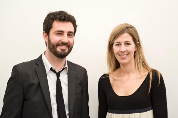 Los galeristas Álex Nogueras y Rebeca Blanchard en ARCOMadrid (2013)