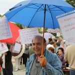 El portavoz de la Asociación de Vecinos Nuevo Getafe, Ángel Luis Rojo, en una de las protestas contra la construcción del aparcamiento.