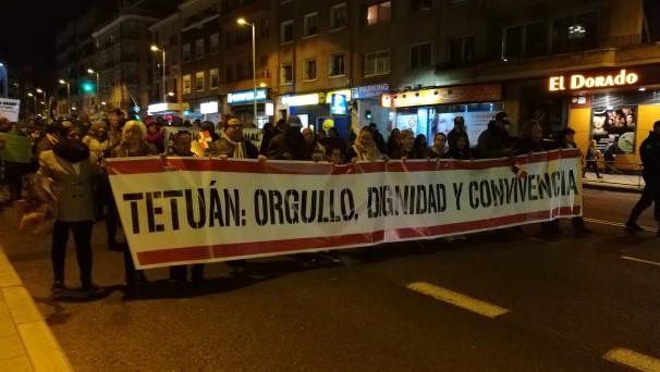 Cabeza de la manifestación durante su recorrido por Bravo Murillo