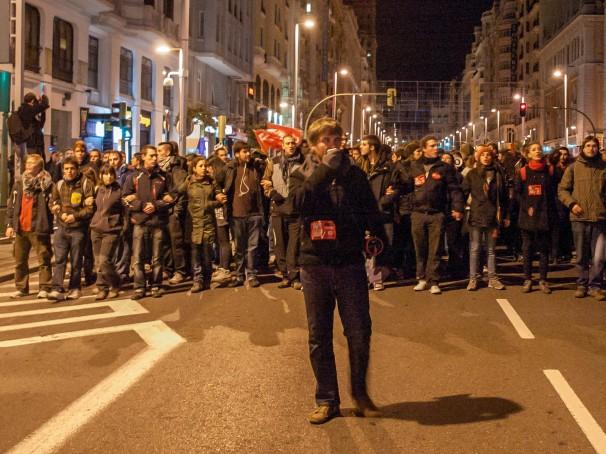 Los manifestantes, durante la movilización por el centro de Madrid. Foto: David Roch