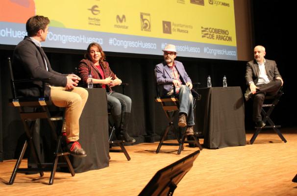 De izquierda a derecha: Darío Pescador, Marcela Turati,  Salvador Frausto y Daniel Moreno. Foto: N. Mira