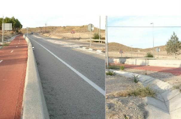 Muro que separa el carril ciclista y la carretera M-301. Fotos: Iván Gurrea