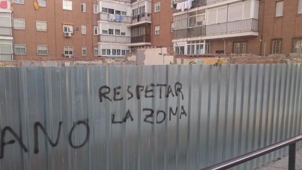 Pintada en las obras de la Plaza del Duque de Pastrana. Foto: Mario López
