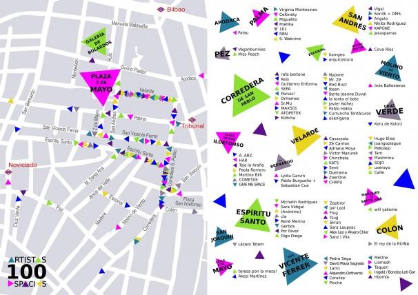 Mapa de los locales en los que tendrá lugar Pinta Malasaña