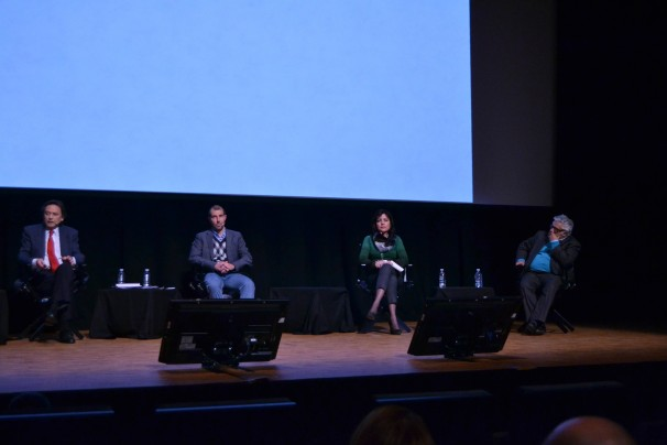 Los ponentes de la conferencia «Transparencia en los medios: máxima apertura, máxima opacidad». Foto: A.P