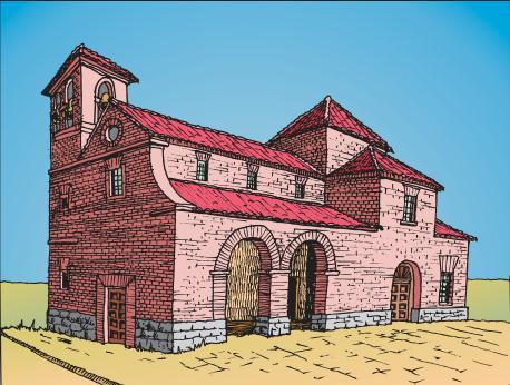 Recreación de la iglesia de de San Pedro.Fuente: educación ambiental de Polvoranca
