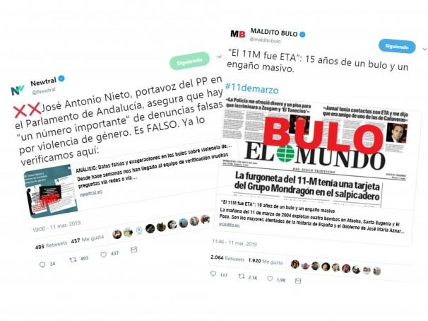 Una muestra de cómo Newtral y Maldita.es desmienten los bulos en Twitter