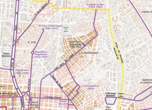 Plano histórico de tranvías y metros ligeros Imagen: Comunidad de Madrid