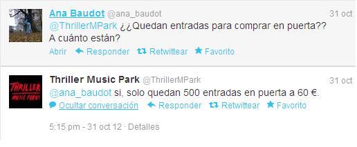 Tweet que muestra que las entradas se vendieron en la puerta