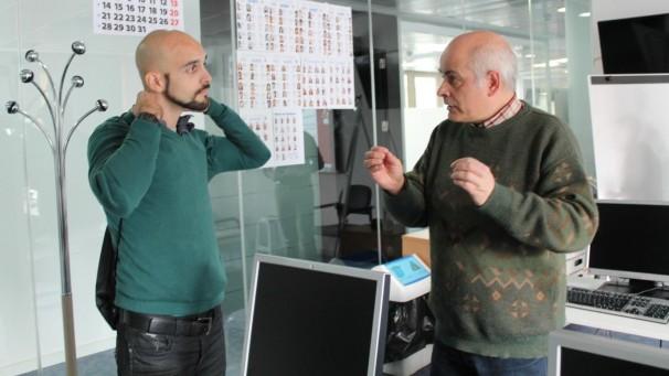 Lajud y Zugasti tras el debate en la redacción de «Madrilánea»